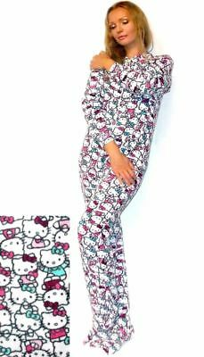 NEW!   HELLO KITTY - All Over Print Micro Polar Fleece Footie!    SZ M    NWT!