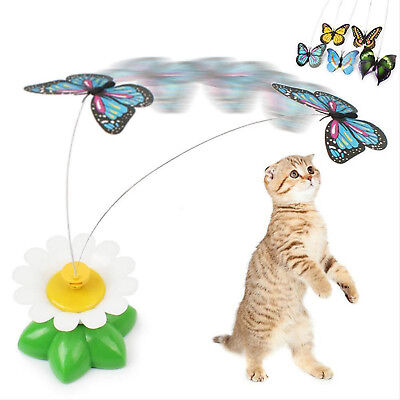 Electric Rotating Butterfly Bird Rod Wire Teaser Pet Cat Kitten Play Toy  GUT
