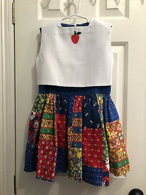 Vintage Multi Colored Girls Dress Size 5/6 Apple 2 Piece