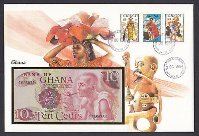 Ghana bank note on 1984 cover with Native Tribal Art design cachet  & Banknote