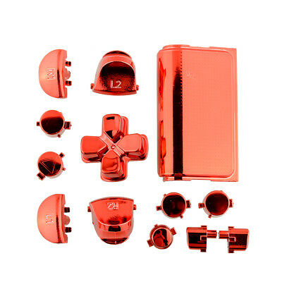 New Buttons Mod Kits Chrome Red For Sony Playstation 4 PS4 Gamepad Joystick