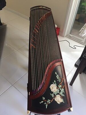 Beautiful Chinese Guzheng With Jade Including Stool And Case