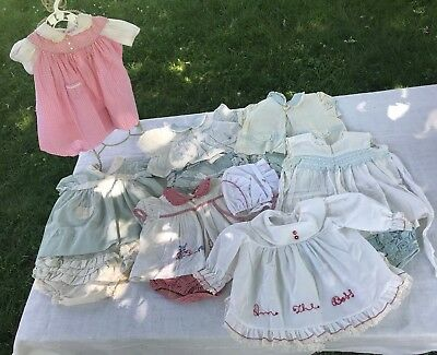 13 VTG Dresses Baby Girl Lace Ruffle Panties Semi-Sheer Pink Blue Bonnet Lot