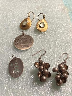 VINTAGE LOT of STERLING SILVER PENDANTS or CHARMS & POST EARRINGS NO SCRAP!