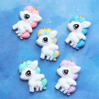 5pcs Big eyed Unicorn Flat Back Resin Cabochon DIY Phone Embellishments DGT