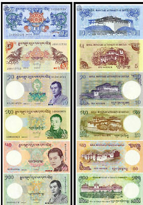 Bhutan 2006-2013 1+5+10+20+50+100 Ngultrum BrandNew Banknotes set 6PCS