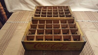 Vintage Wood Coca Cola Coke crate box yellow wood dividers 2