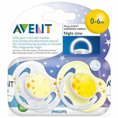Philips Avent SCF176/18 2-Pack Orthodontic Soother 0-6m Night Time - Yellow