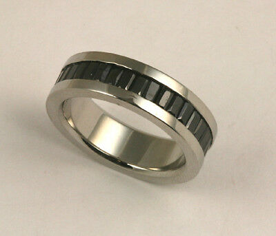 Unisex 316L Stainless Steel Black Stone Eternity Ring 7mm Band Size 10 NEW SS146