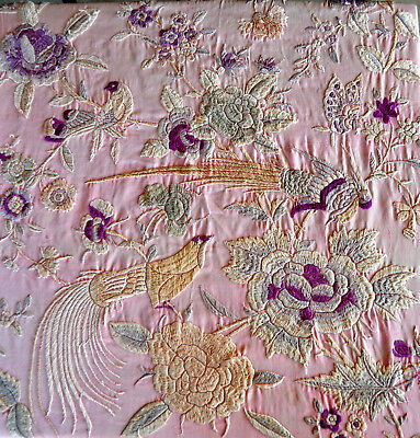 19Th Century(1850-1890) Antique Chinese Hand Embroidered Silk Piano Shawl