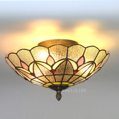 Tiffany Style Vintage Light Stained Gl Flush Mount Ceiling Lighting Fixtures