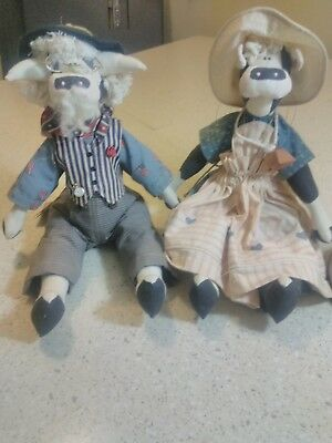 the Plainfolk family photo dolls, uncle samuel ray & hilary with tag Animal Doll