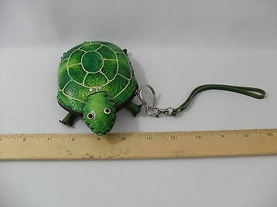 New! Handmade Leather Green Turtle Coin Purse - Zipper - Pouch - Free Shipping