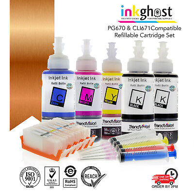 Refillable ink cartridges for Canon TS5060 TS6060 cartridge code PGI-670 CLI-671