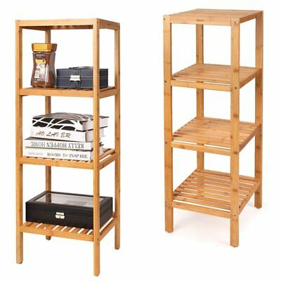 4 Tier Bamboo Wooden Kitchen Bath Bathroom Shelf Rack Organiser Unit Storage New