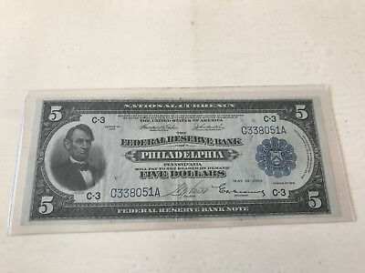 1918 $5 Federal Reserve Bank Note Philadelphia