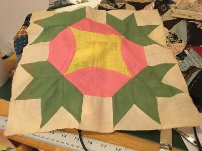 Moprimitivepast Antique Quilt Block 1940s Green Pink Yellow Large Hand Sewn More