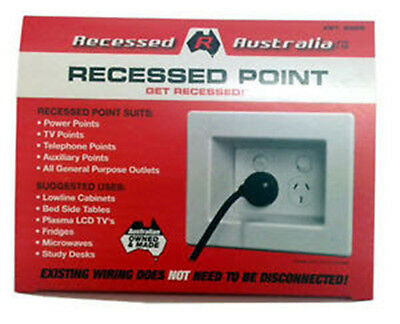 2 x Australian Recessed Cable Guard Power Point - Wall Power Point  - White
