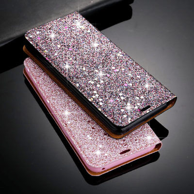Bling Glitter Sequin Leather Flip Wallet Magnetic Case Cover For iPhone XS 6 7 8