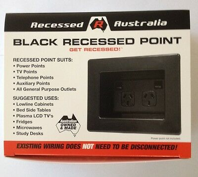 Black x 2  Recessed Australia Wall Power Point - Recessed Power Point - Black