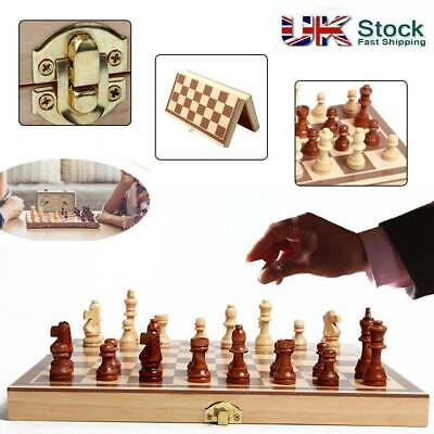 Folding Wooden Chess Set Board Game Checkers Backgammon Draughts Toy Gift