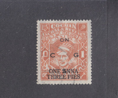 INDIA-COCHIN-1944-SURCHARGED OFFICIAL-1A 3p ON 1 A-TYPE 20-SG O79-$6.50-freepost