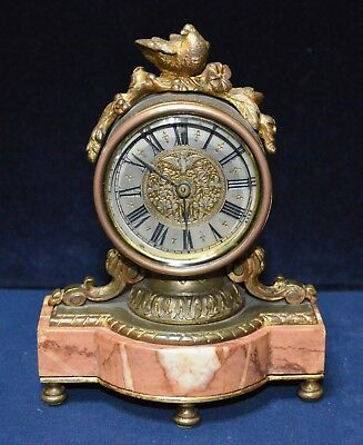 Antique Victorian miniature French Ornate Marble & Gilt Ormolu Clock Working