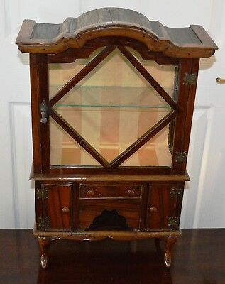 Antique Miniature Mahogany Edwardian China Display Cabinet with Cupboards
