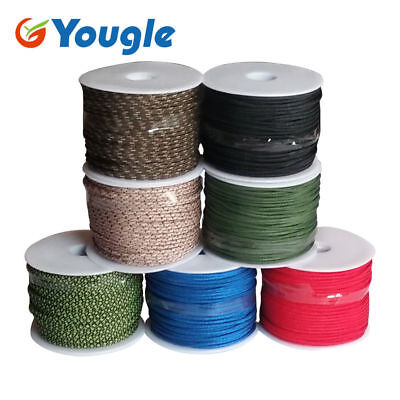 50 Meters 3 Strand Core Nylon 2mm Micro Parachute Cord Paracord Tent Wind Line