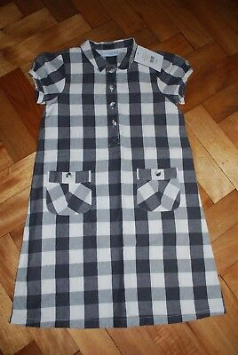 BNWT THE LITTLE WHITE COMPANY GINGHAM SHIRT DRESS 7-8yrs - 50% LINEN