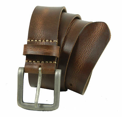 Genuine Full Grain Leather Belt smooth Vintage Natural Casual Jeans Trouser gift