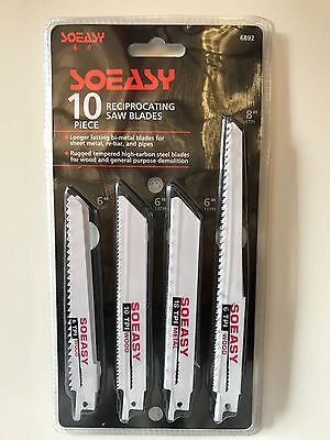 "Genuine SOEASY 10PCS 6"" & 8"" Multi Reciprocating Tool Saw Blades for Wood Metal"