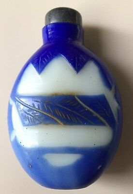 Chinese Peking Glass Snuff Bottle, Blue Overlay Late Qing Dynasty