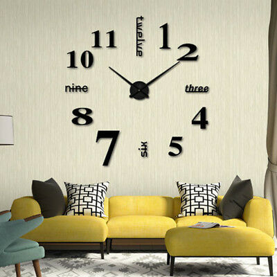 Modern Diy Large Wall Clock Mirror Surface Sticker Home Office Fridge Decor R