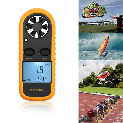 Digital Anemometer Wind-Speed Backlight LCD Airflow Gauge Meter Thermometer NEW