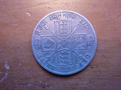 Lovely British Sterling Silver Double Florin Coin  Queen Victoria 1890