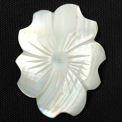 Carving White MOTHER OF PEARL Flower 35x27 mm Flat Gemstone 15.00 Cts S-9681
