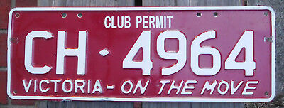License Plate Number Plate VIC Club Permit CH is not seen much now  CH 4964
