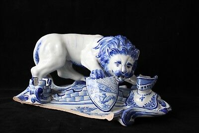Encrier Lion Emile Gallé Faience Saint Clement Nancy En L'etat Fin 19Eme A758