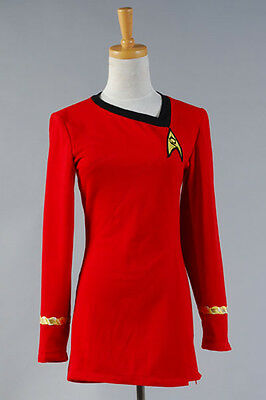 Star Trek The Female Duty Red Uniform Robe Cosplay Costume Gown Outfit