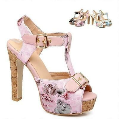 cfcdd5c1702f Womens High Block Heel Platform Sandals T-Bar Floral Print Ankle Strappy  302110