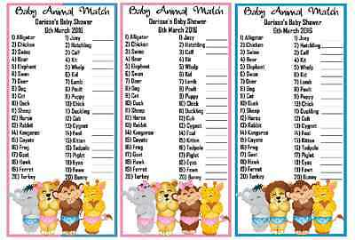 Baby Shower  - Animal Match Game Personalised x 10