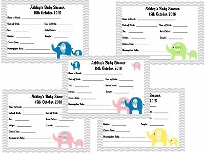 Baby Shower Game Keepsake - Prediction / Forecast Personalised Cards x 10