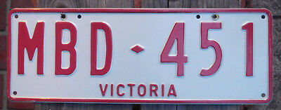 License Plate Number Plate VIC Red on White interim slogan VICTORIA MBD 451