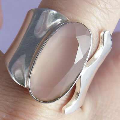 WRAP GEM Ring Size US 8 (Q) SilverSari Solid 925 Sterling Silver ROSE QUARTZ