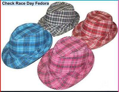 TARTAN Check FEDORA HAT Plaid TRILBY Dance Party Race Day Unisex Adult Kid NEW
