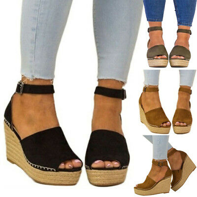 25ea09e9203b7b Women Strappy Sandals High Wedge Heel Espadrilles Sandals Peep Toes Chunky  Shoes