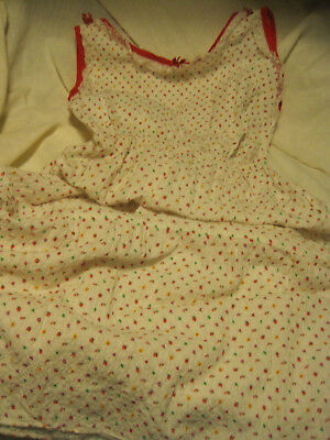 Vtg 1940's Textured Summer Print Plisse Girls Sz 12 Long Nightgown By Greencraft