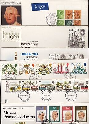 GB Great Britain 1980 FDC Six Different First Day Covers