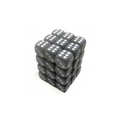 Set d6 12mm Frosted Smoke w/white - Chessex CHX LE415